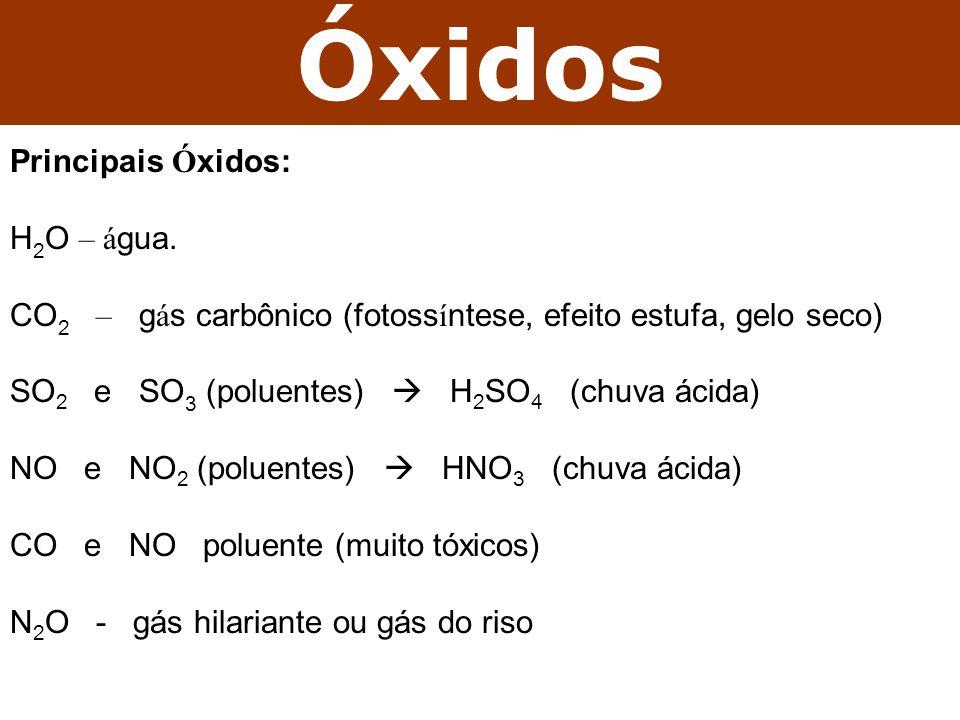 Óxidos Principais Ó xidos: H 2 O – á gua. CO 2 – g á s carbônico (fotoss í ntese, efeito estufa, gelo seco) SO 2 e SO 3 (poluentes) H 2 SO 4 (chuva ác