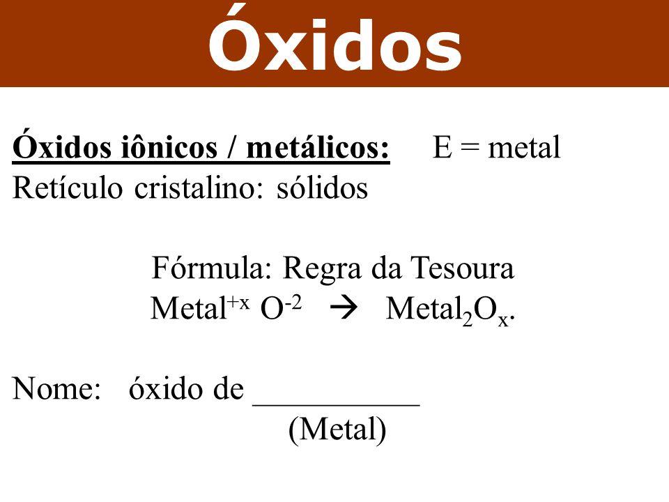 Óxidos Óxidos iônicos / metálicos: E = metal Retículo cristalino: sólidos Fórmula: Regra da Tesoura Metal +x O -2 Metal 2 O x. Nome: óxido de ________