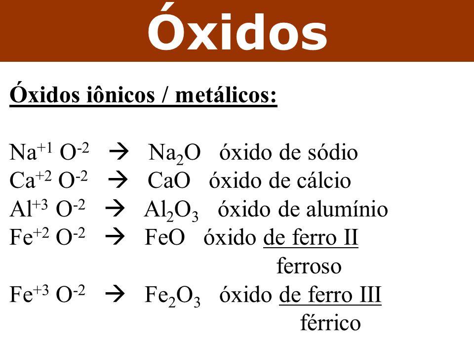Óxidos iônicos / metálicos: Na +1 O -2 Na 2 O óxido de sódio Ca +2 O -2 CaO óxido de cálcio Al +3 O -2 Al 2 O 3 óxido de alumínio Fe +2 O -2 FeO óxido