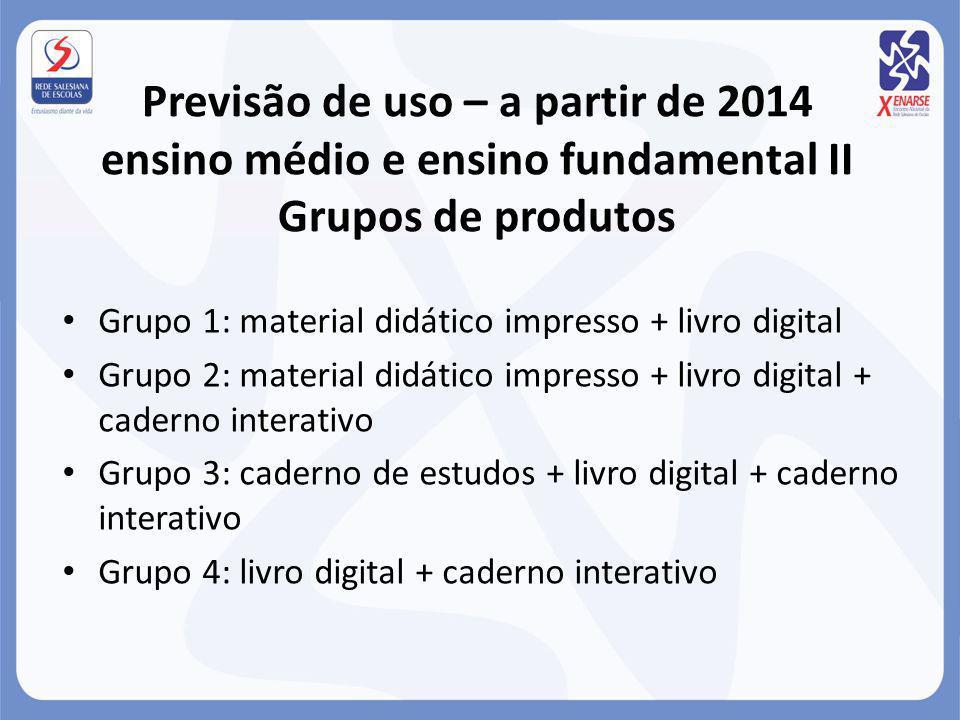 Previsão de uso – a partir de 2014 ensino médio e ensino fundamental II Grupos de produtos Grupo 1: material didático impresso + livro digital Grupo 2