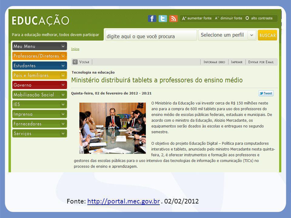 Fonte: http://portal.mec.gov.br. 02/02/2012http://portal.mec.gov.br
