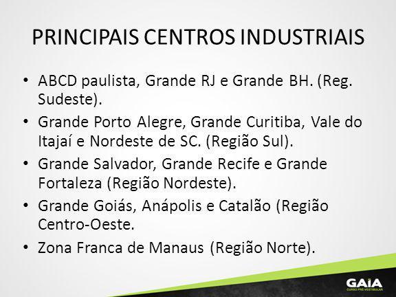 PRINCIPAIS CENTROS INDUSTRIAIS ABCD paulista, Grande RJ e Grande BH. (Reg. Sudeste). Grande Porto Alegre, Grande Curitiba, Vale do Itajaí e Nordeste d