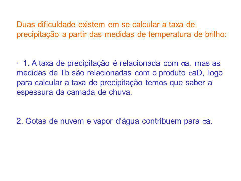 Duas dificuldade existem em se calcular a taxa de precipitação a partir das medidas de temperatura de brilho: · 1. A taxa de precipitação é relacionad