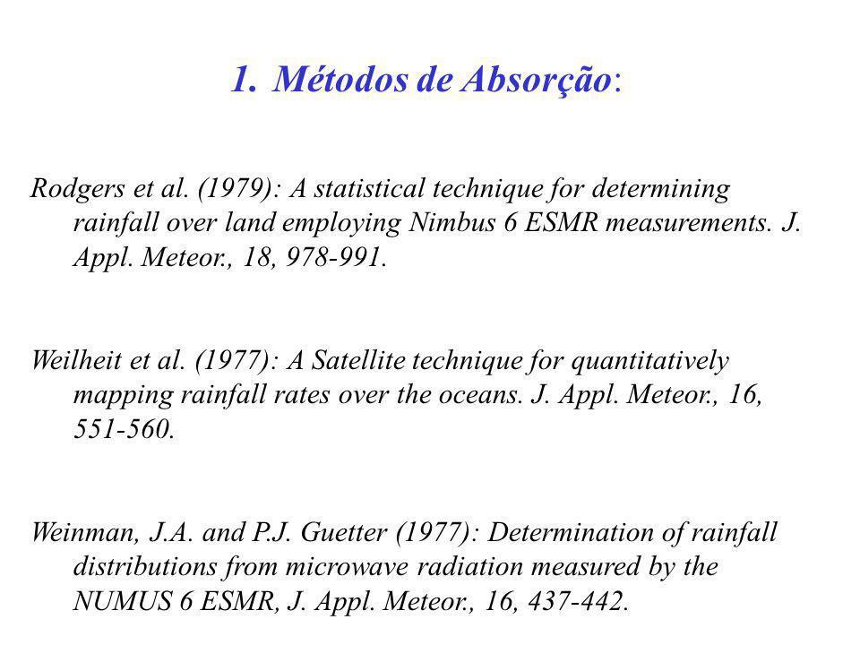 1.Métodos de Absorção: Rodgers et al. (1979): A statistical technique for determining rainfall over land employing Nimbus 6 ESMR measurements. J. Appl