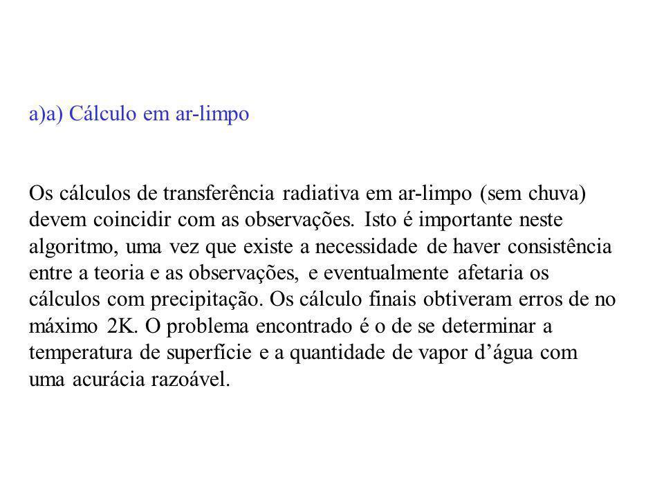 a)a) Cálculo em ar-limpo Os cálculos de transferência radiativa em ar-limpo (sem chuva) devem coincidir com as observações. Isto é importante neste al