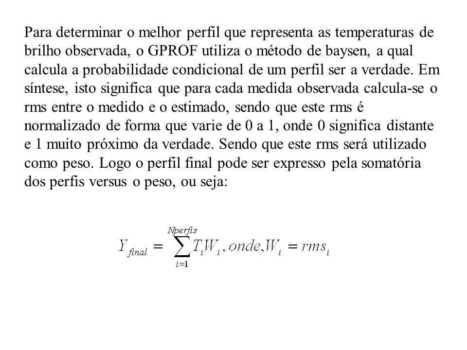 Para determinar o melhor perfil que representa as temperaturas de brilho observada, o GPROF utiliza o método de baysen, a qual calcula a probabilidade