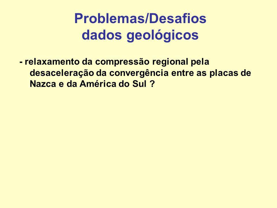 Problemas/Desafios dados geológicos - relaxamento da compressão regional pela desaceleração da convergência entre as placas de Nazca e da América do S