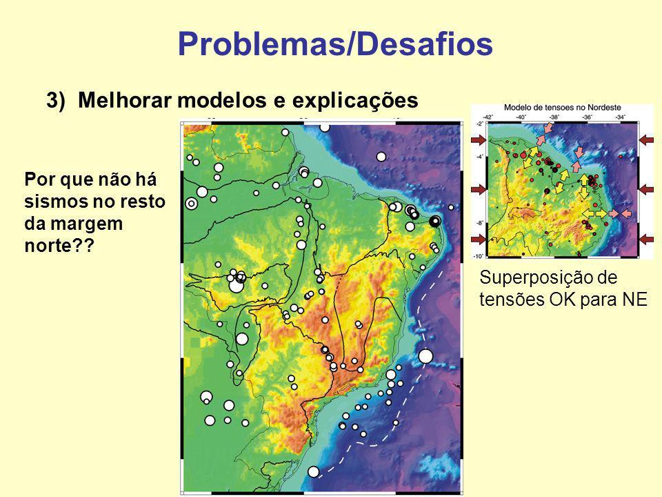 Problemas/Desafios 3) Melhorar modelos e explicações Superposição de tensões OK para NE Por que não há sismos no resto da margem norte??