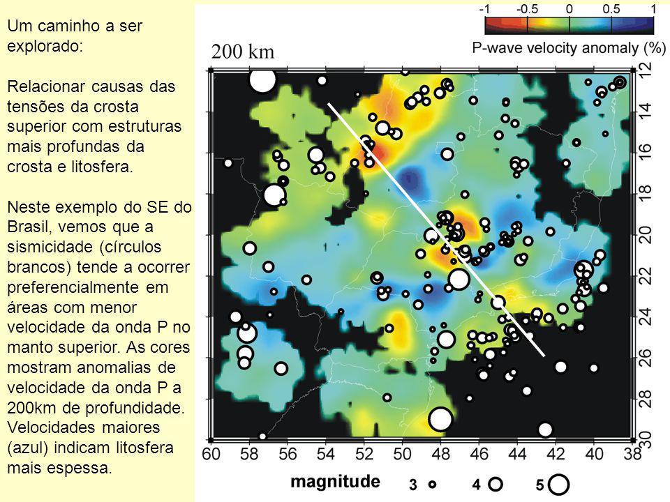 Um caminho a ser explorado: Relacionar causas das tensões da crosta superior com estruturas mais profundas da crosta e litosfera. Neste exemplo do SE
