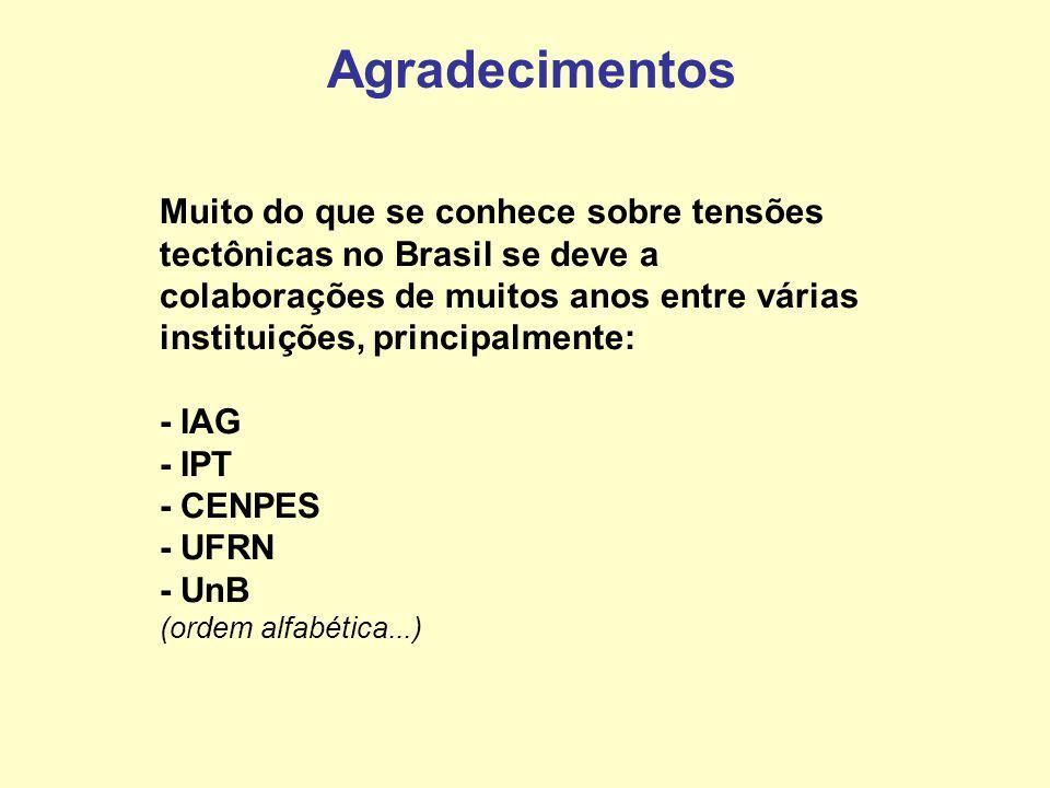 Agradecimentos Muito do que se conhece sobre tensões tectônicas no Brasil se deve a colaborações de muitos anos entre várias instituições, principalmente: - IAG - IPT - CENPES - UFRN - UnB (ordem alfabética...)