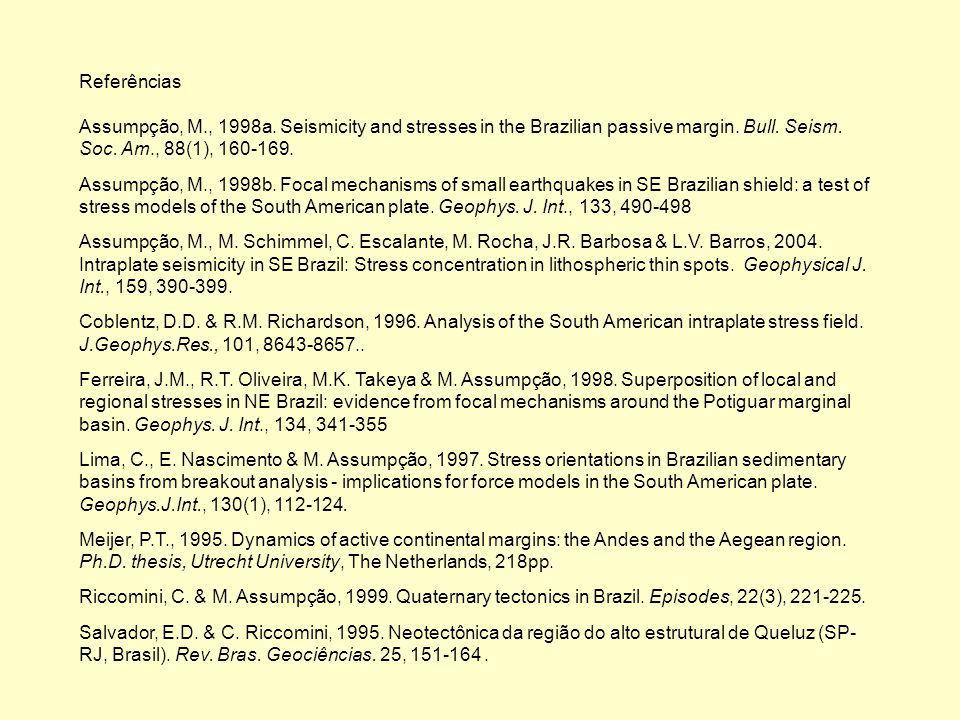 Referências Assumpção, M., 1998a. Seismicity and stresses in the Brazilian passive margin. Bull. Seism. Soc. Am., 88(1), 160-169. Assumpção, M., 1998b
