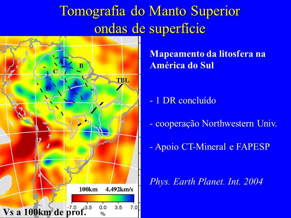Tomografia do Manto Superior ondas de superfície Mapeamento da litosfera na América do Sul - 1 DR concluído - cooperação Northwestern Univ.
