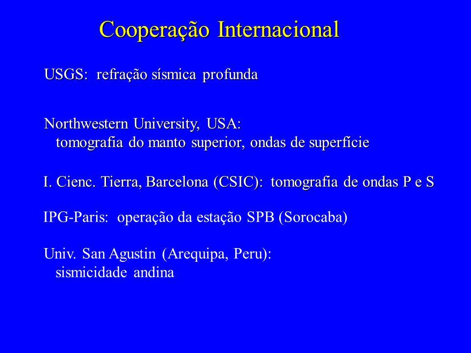 Cooperação Internacional USGS: refração sísmica profunda Northwestern University, USA: tomografia do manto superior, ondas de superfície tomografia do manto superior, ondas de superfície I.
