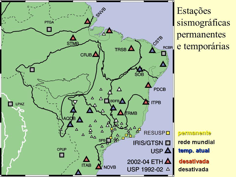 Estações sismográficas permanentes e temporárias permanente rede mundial temp.