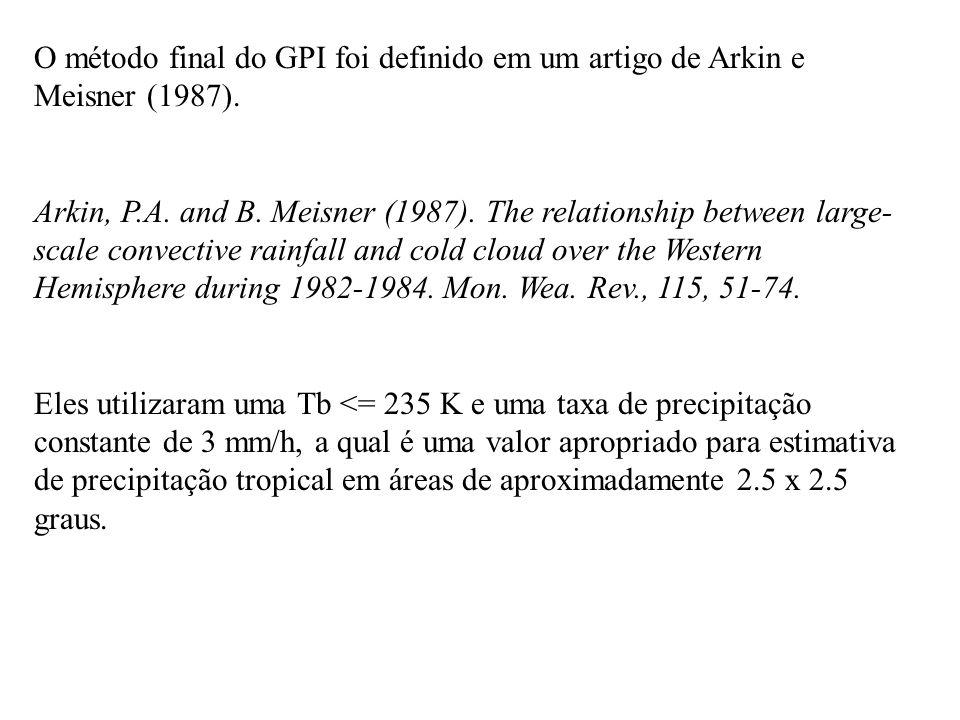 O método final do GPI foi definido em um artigo de Arkin e Meisner (1987). Arkin, P.A. and B. Meisner (1987). The relationship between large- scale co