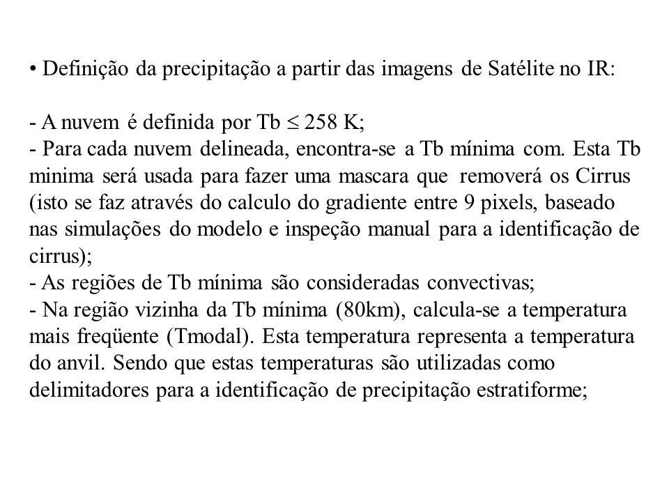 Definição da precipitação a partir das imagens de Satélite no IR: - A nuvem é definida por Tb 258 K; - Para cada nuvem delineada, encontra-se a Tb mín