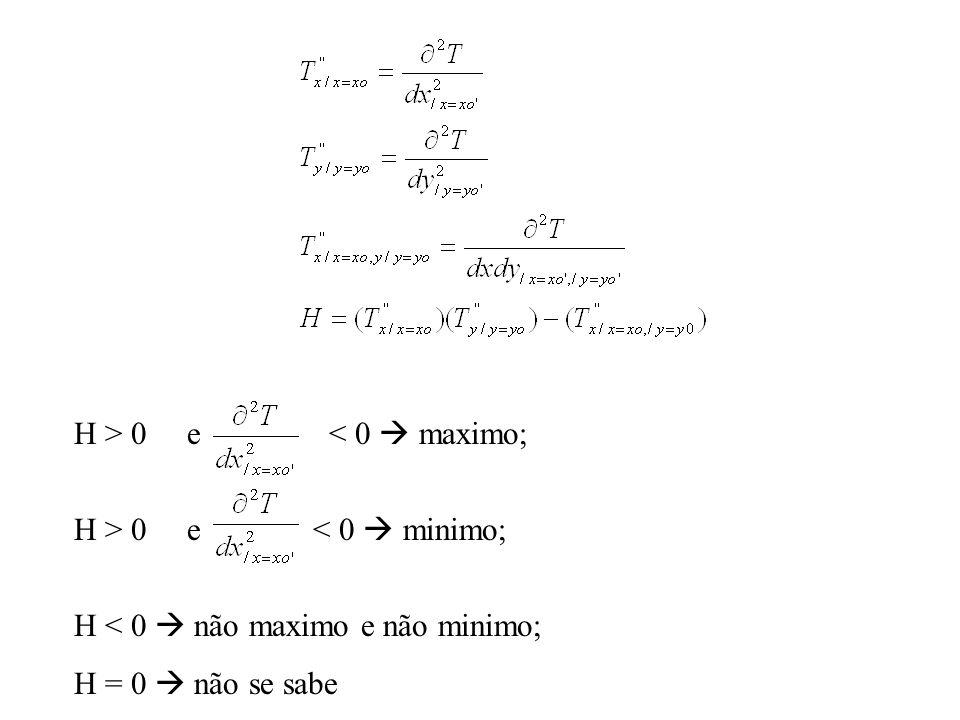 H > 0 e < 0 maximo; H > 0 e < 0 minimo; H < 0 não maximo e não minimo; H = 0 não se sabe