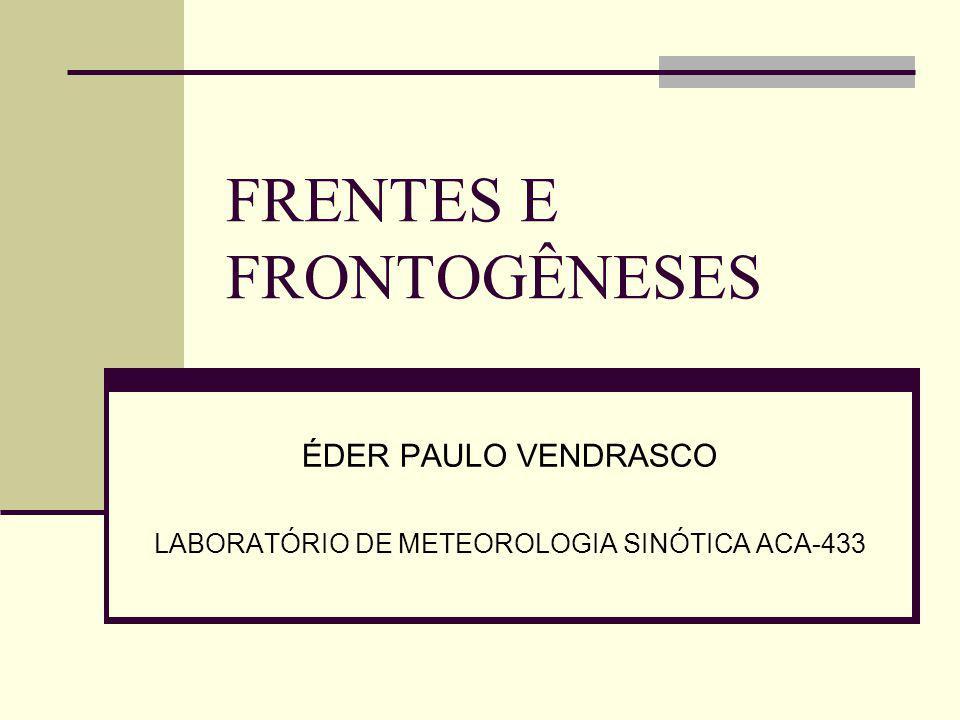 FRENTES E FRONTOGÊNESES ÉDER PAULO VENDRASCO LABORATÓRIO DE METEOROLOGIA SINÓTICA ACA-433