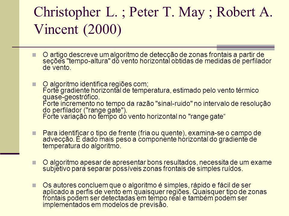Christopher L. ; Peter T. May ; Robert A. Vincent (2000) O artigo descreve um algoritmo de detecção de zonas frontais a partir de seções