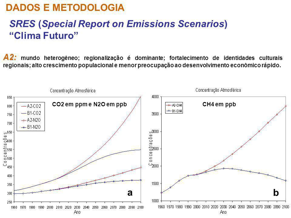 SRES (Special Report on Emissions Scenarios) Clima Futuro DADOS E METODOLOGIA A2: A2: mundo heterogêneo; regionalização é dominante; fortalecimento de