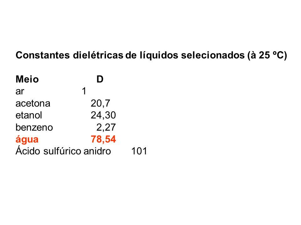 Constantes dielétricas de líquidos selecionados (à 25 ºC) Meio D ar 1 acetona20,7 etanol24,30 benzeno 2,27 água78,54 Ácido sulfúrico anidro 101
