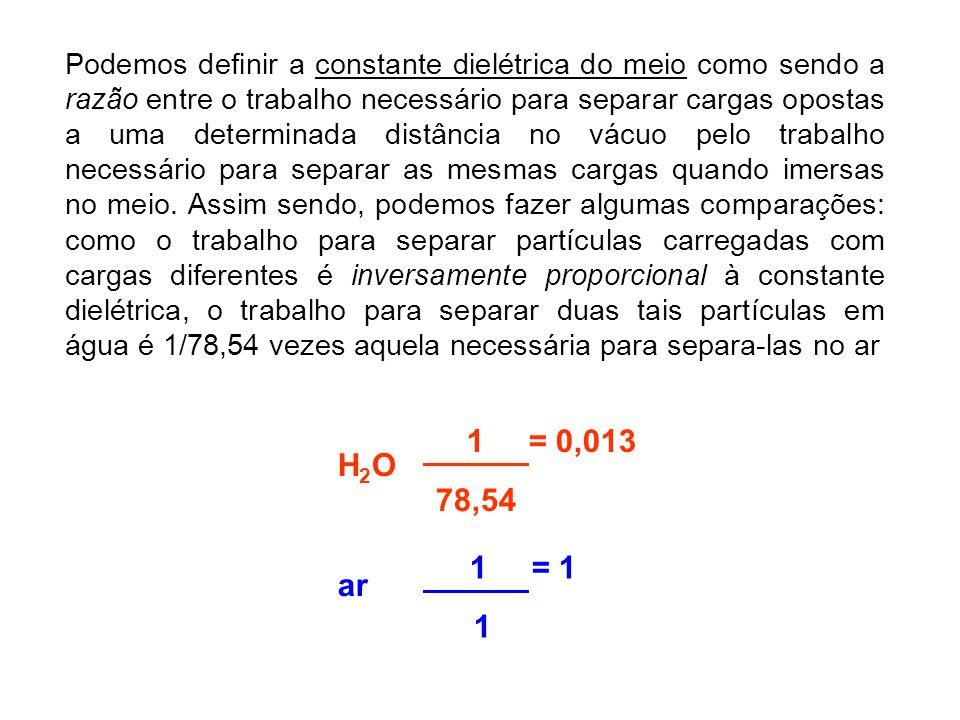 Podemos definir a constante dielétrica do meio como sendo a razão entre o trabalho necessário para separar cargas opostas a uma determinada distância
