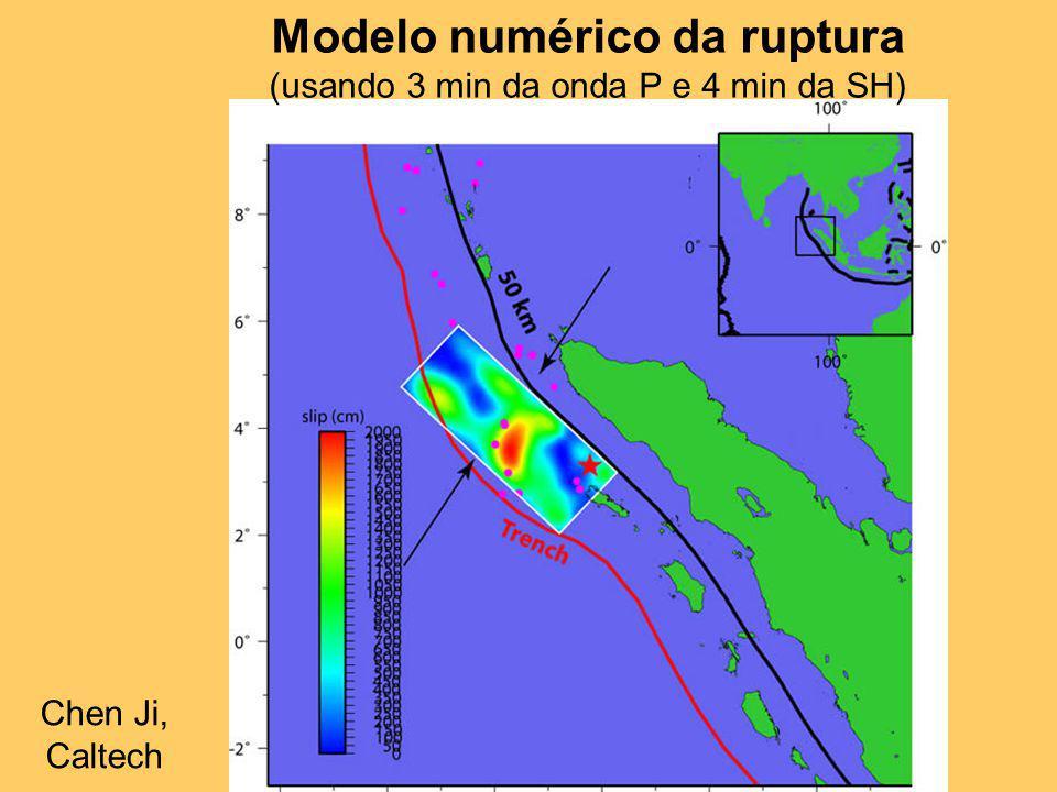 Modelo numérico da ruptura (usando 3 min da onda P e 4 min da SH) Chen Ji, Caltech