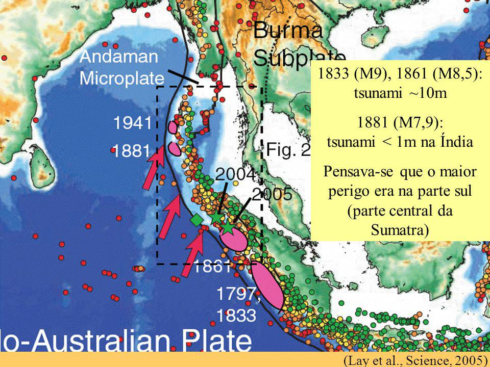 (Lay et al., Science, 2005) 1833 (M9), 1861 (M8,5): tsunami ~10m 1881 (M7,9): tsunami < 1m na Índia Pensava-se que o maior perigo era na parte sul (pa