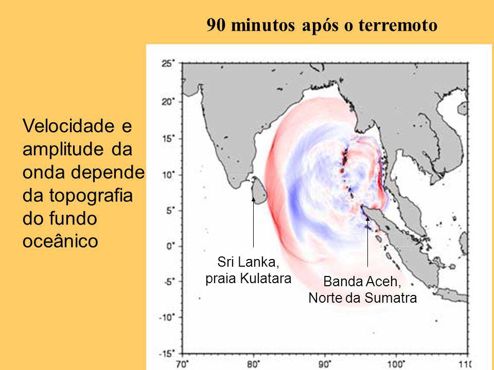 90 minutos após o terremoto Velocidade e amplitude da onda depende da topografia do fundo oceânico Banda Aceh, Norte da Sumatra Sri Lanka, praia Kulat