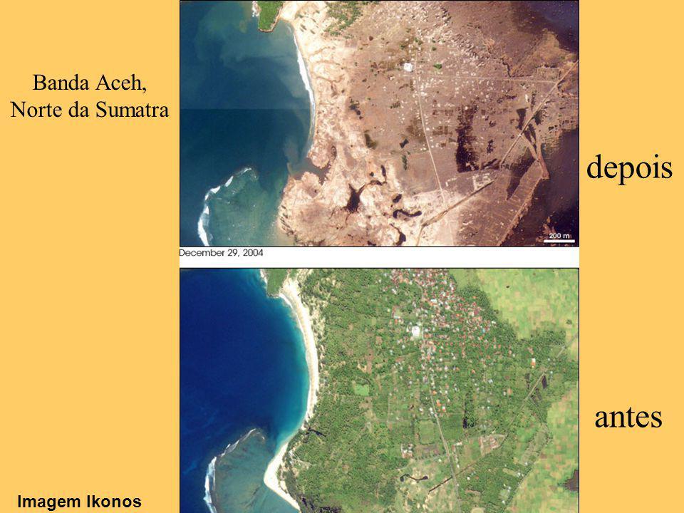 antes depois Banda Aceh, Norte da Sumatra Imagem Ikonos