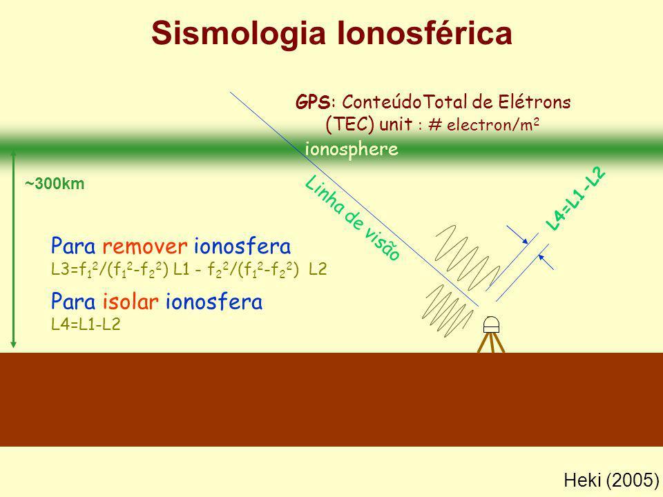 ionosphere L4=L1-L2 GPS: ConteúdoTotal de Elétrons (TEC) unit : # electron/m 2 Linha de visão Para remover ionosfera L3=f 1 2 /(f 1 2 -f 2 2 ) L1 - f