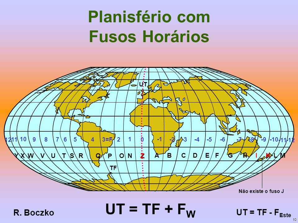 10 Planisfério com Fusos Horários UT = TF + F W UT = TF - F Este 3=F2 1 0456789 10 11 -12 -2-3-4-5-6-7-8-9-10 -11 UT TF Z ABCDEFGHIKLM YXWVUSRQ P ON 1