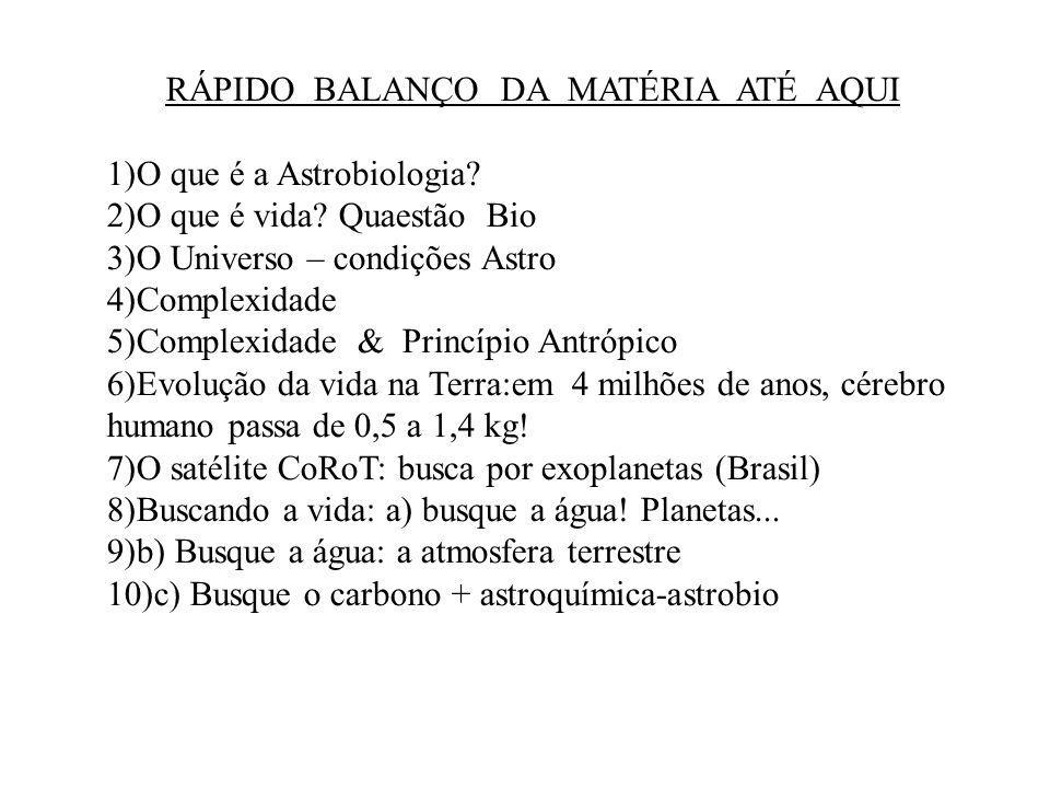 RÁPIDO BALANÇO DA MATÉRIA ATÉ AQUI 1)O que é a Astrobiologia.