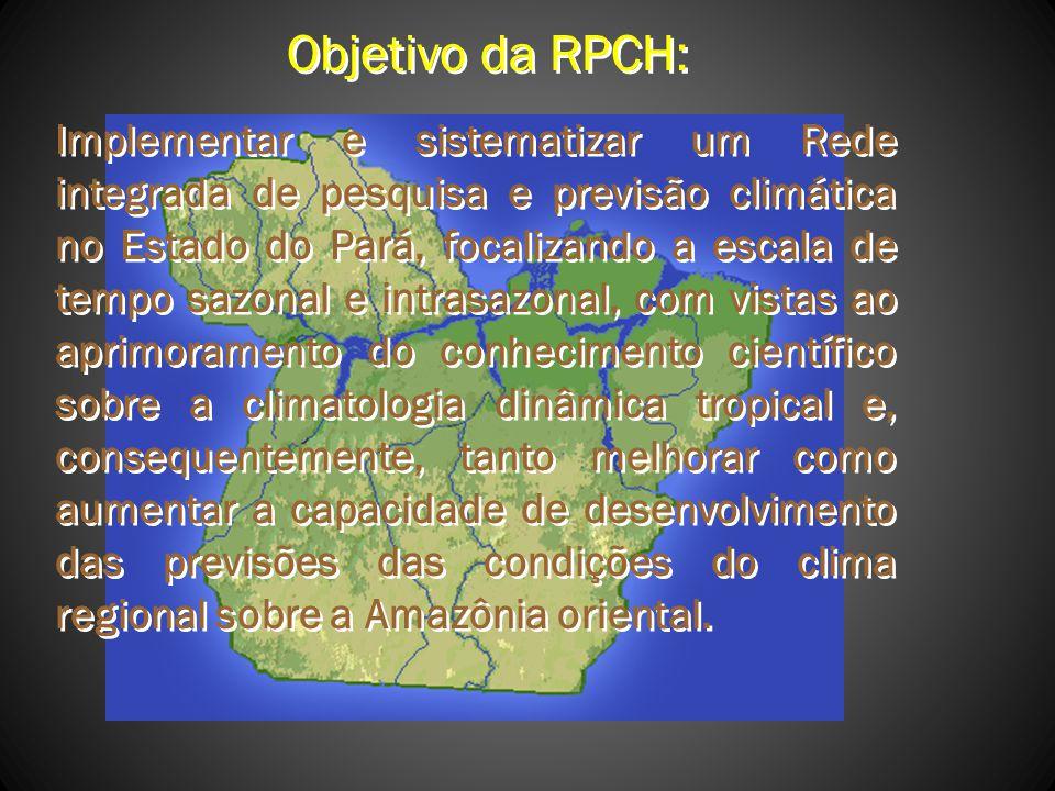 Objetivo da RPCH: Implementar e sistematizar um Rede integrada de pesquisa e previsão climática no Estado do Pará, focalizando a escala de tempo sazon