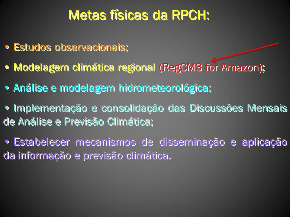 Metas físicas da RPCH: Estudos observacionais; Modelagem climática regional (RegCM3 for Amazon); Análise e modelagem hidrometeorológica; Implementação