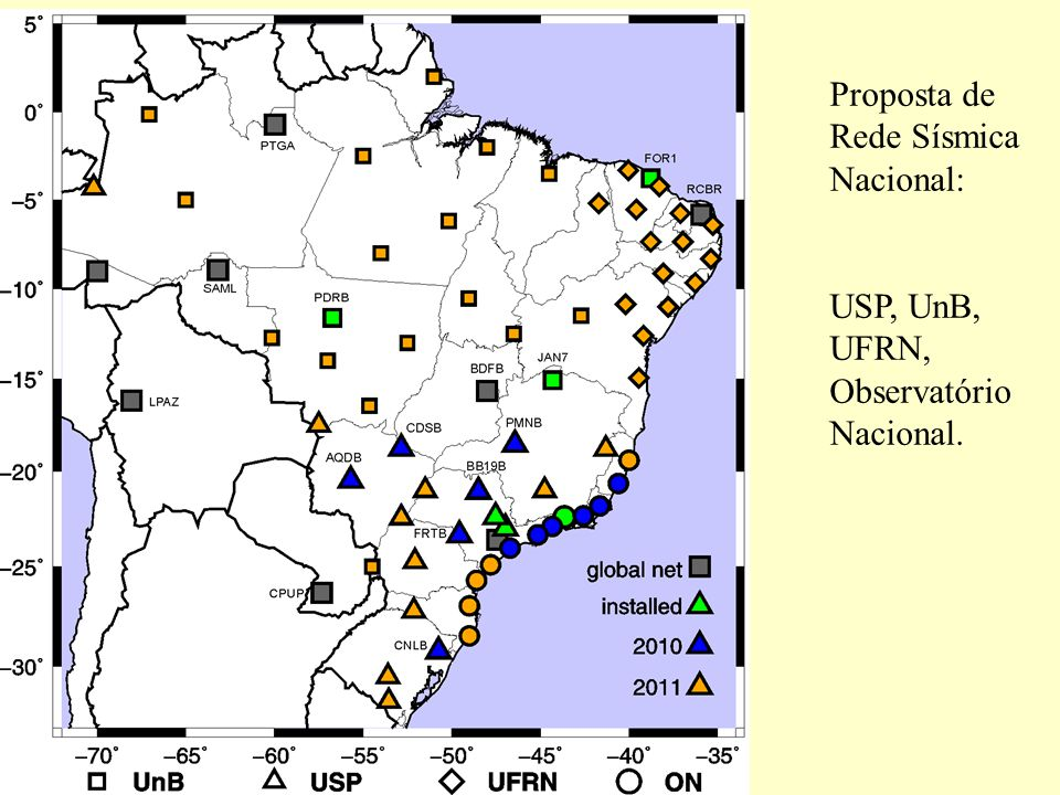 Proposta de Rede Sísmica Nacional: USP, UnB, UFRN, Observatório Nacional.