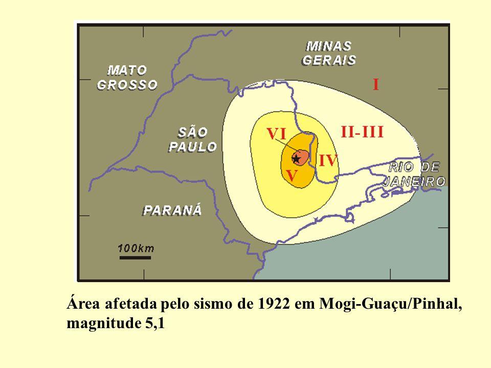 Área afetada pelo sismo de 1922 em Mogi-Guaçu/Pinhal, magnitude 5,1