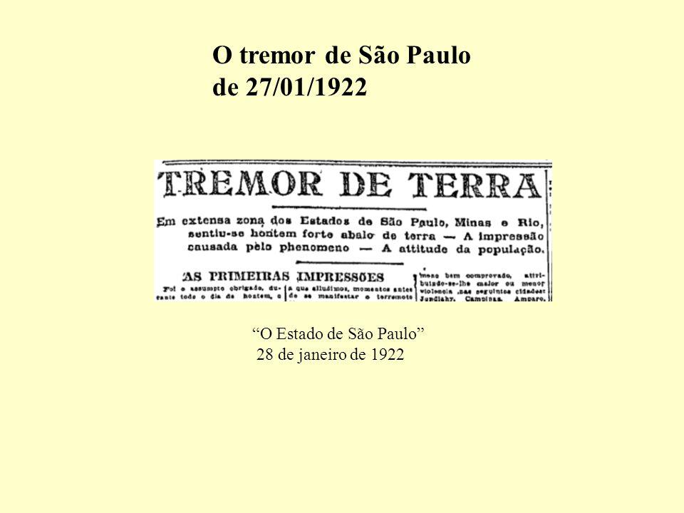 O tremor de São Paulo de 27/01/1922 O Estado de São Paulo 28 de janeiro de 1922