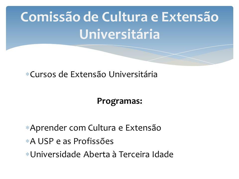 Cursos de Extensão Universitária Programas: Aprender com Cultura e Extensão A USP e as Profissões Universidade Aberta à Terceira Idade Comissão de Cul