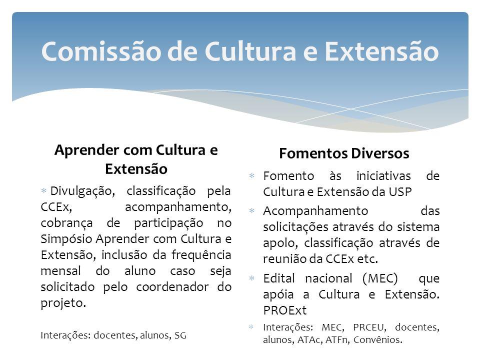 Comissão de Cultura e Extensão Aprender com Cultura e Extensão Divulgação, classificação pela CCEx, acompanhamento, cobrança de participação no Simpósio Aprender com Cultura e Extensão, inclusão da frequência mensal do aluno caso seja solicitado pelo coordenador do projeto.