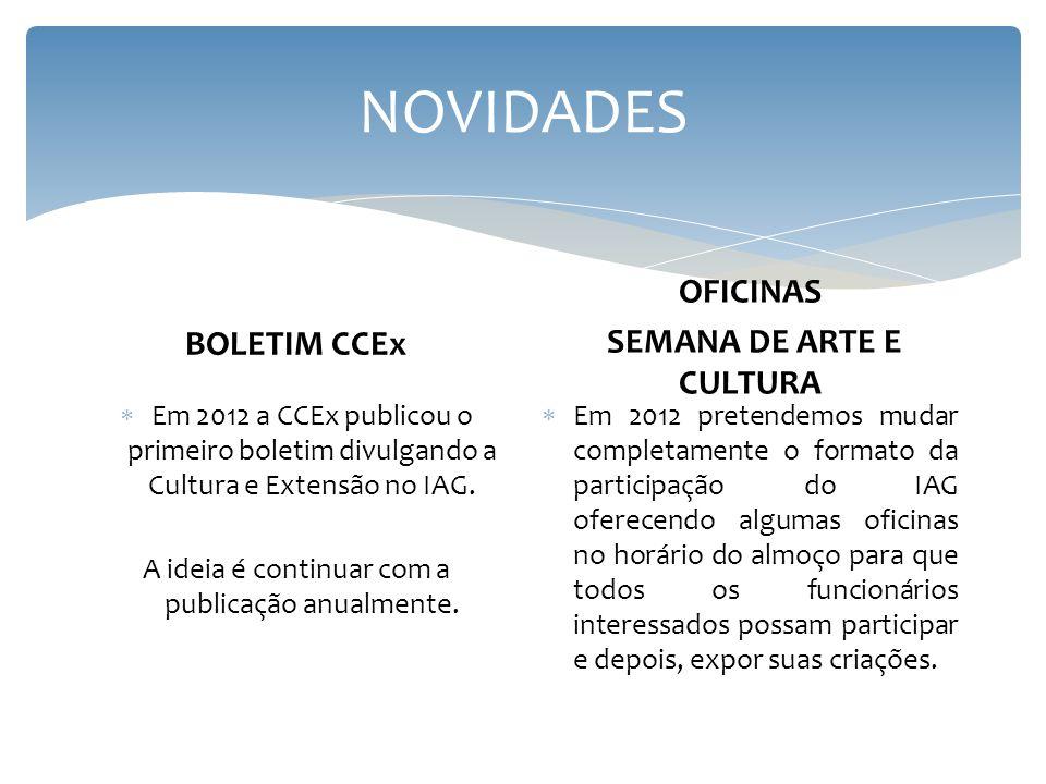 NOVIDADES BOLETIM CCEx Em 2012 a CCEx publicou o primeiro boletim divulgando a Cultura e Extensão no IAG. A ideia é continuar com a publicação anualme