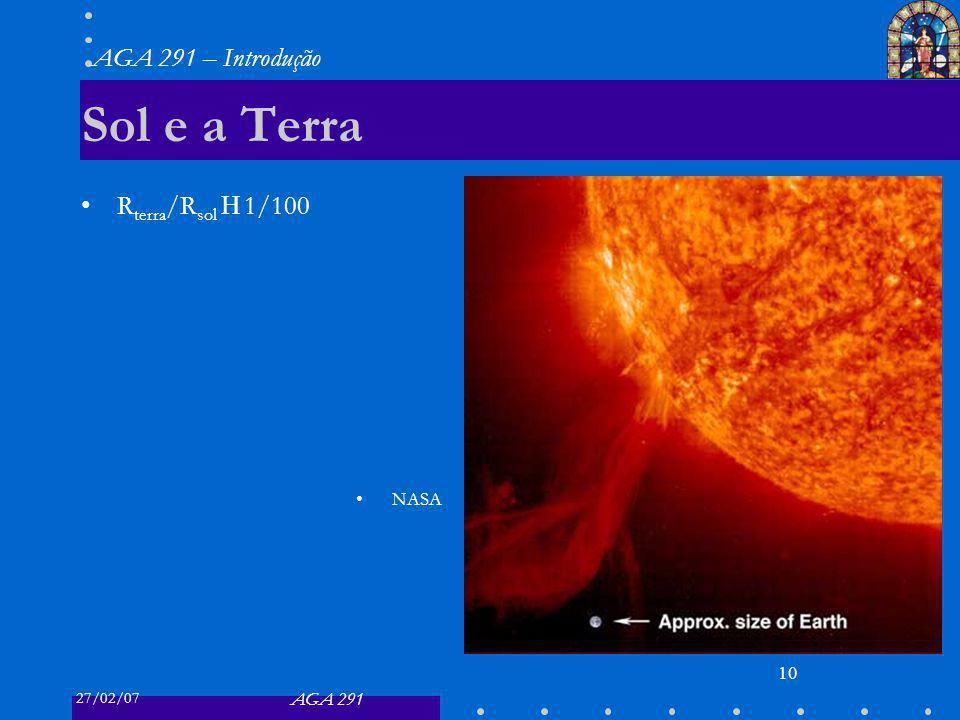 27/02/07 AGA 291 AGA 291 – Introdução 10 Sol e a Terra R terra /R sol 1/100 NASA