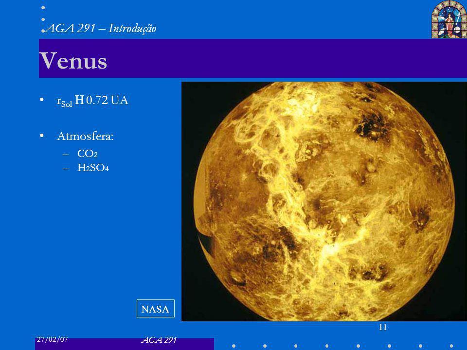 27/02/07 AGA 291 AGA 291 – Introdução 11 Venus r Sol 0.72 UA Atmosfera: –CO 2 –H 2 SO 4 NASA