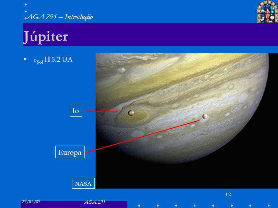 27/02/07 AGA 291 AGA 291 – Introdução 12 Júpiter r Sol 5.2 UA Io Europa NASA
