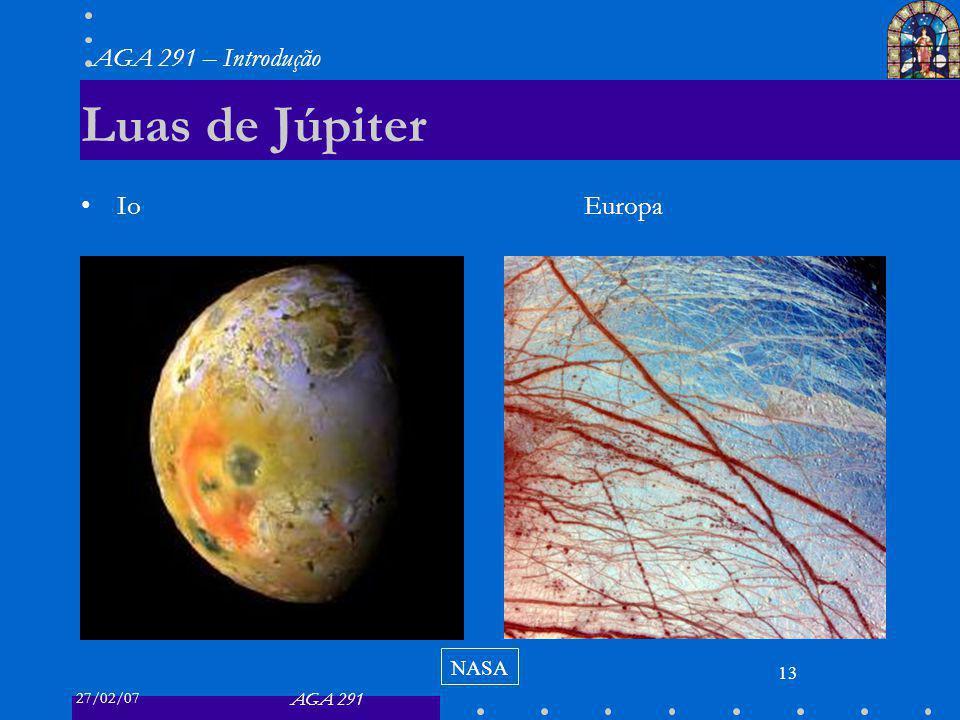 27/02/07 AGA 291 AGA 291 – Introdução 13 Luas de Júpiter Io Europa NASA