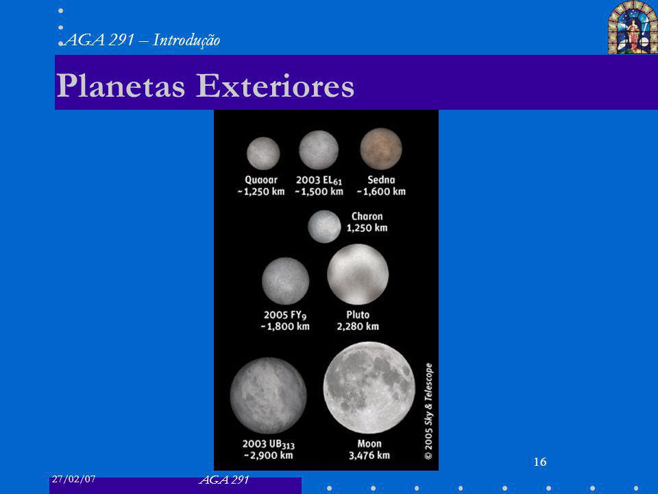 27/02/07 AGA 291 AGA 291 – Introdução 16 Planetas Exteriores