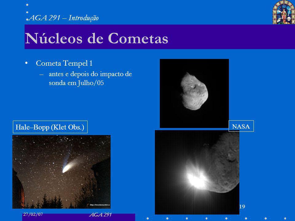 27/02/07 AGA 291 AGA 291 – Introdução 19 Núcleos de Cometas Cometa Tempel 1 –antes e depois do impacto de sonda em Julho/05 Hale–Bopp (Klet Obs.) NASA