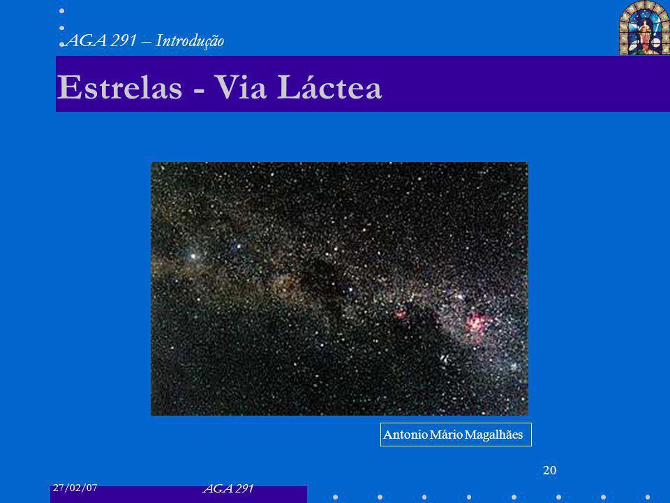 27/02/07 AGA 291 AGA 291 – Introdução 20 Estrelas - Via Láctea Antonio Mário Magalhães