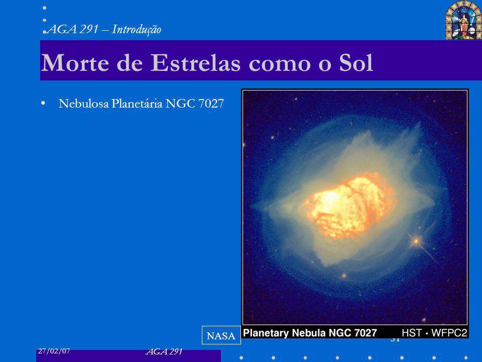 27/02/07 AGA 291 AGA 291 – Introdução 31 Morte de Estrelas como o Sol Nebulosa Planetária NGC 7027 NASA