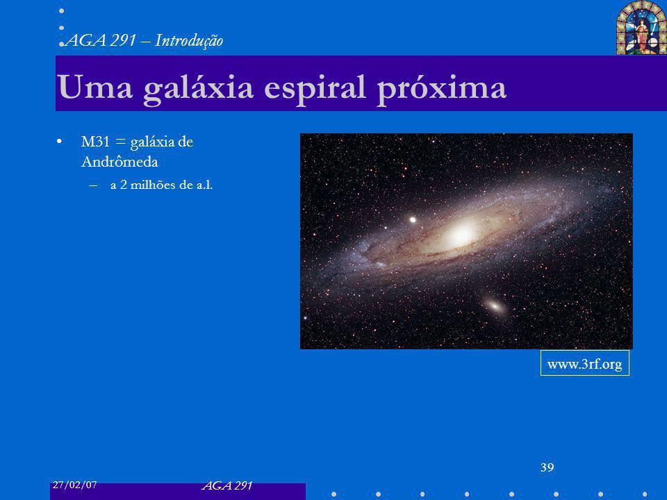 27/02/07 AGA 291 AGA 291 – Introdução 39 Uma galáxia espiral próxima M31 = galáxia de Andrômeda –a 2 milhões de a.l. www.3rf.org